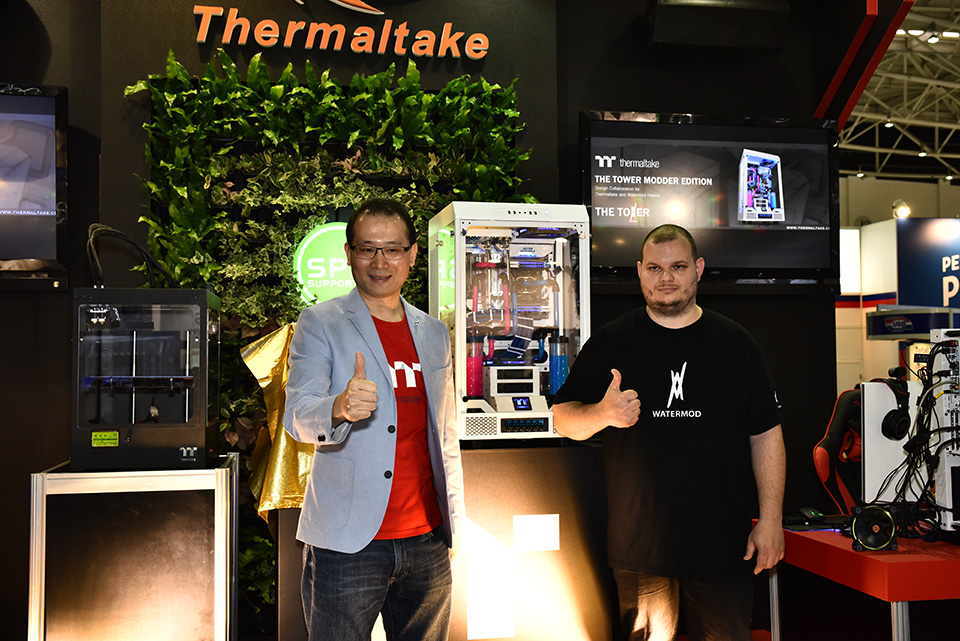 Thermaltake TT Premium Project The Tower Unveiling with Thermaltake CEO Kenny Lin (left) and modder Mathieu Heredia