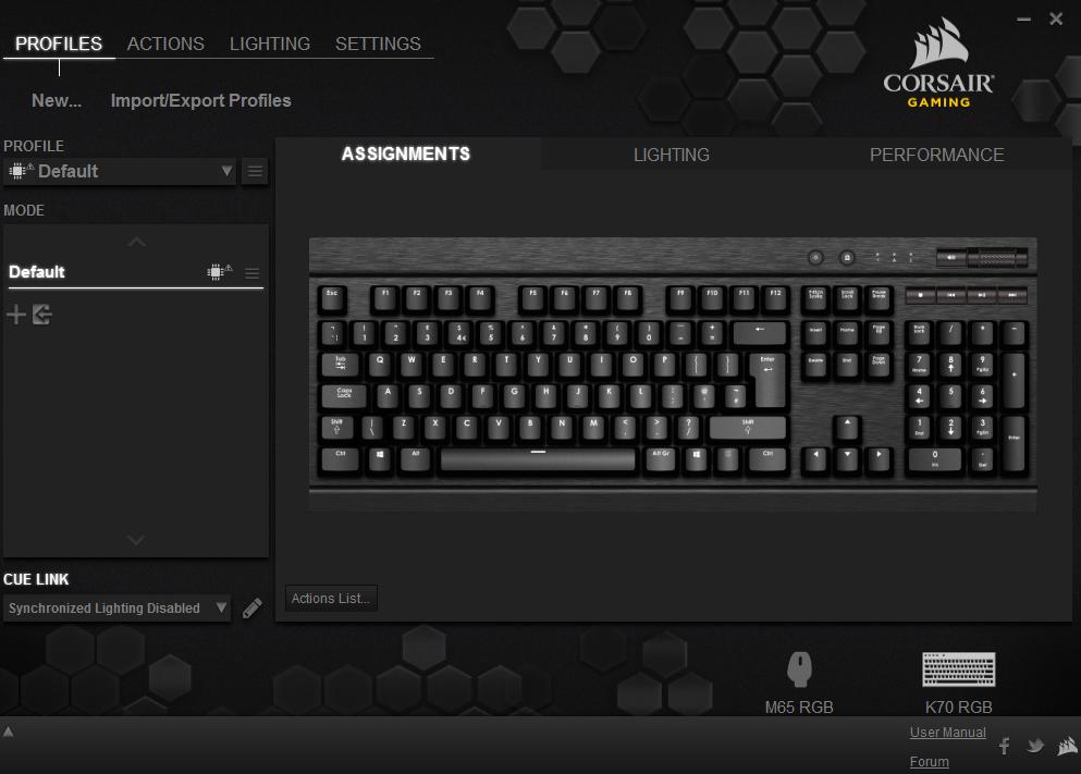 Corsair Gaming K70 RGB Mechanical Gaming Keyboard CUE Software