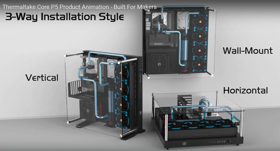 Thermaltake Core P5 Open-Frame ATX Wall-Mount Chassis_ Way Installation Style