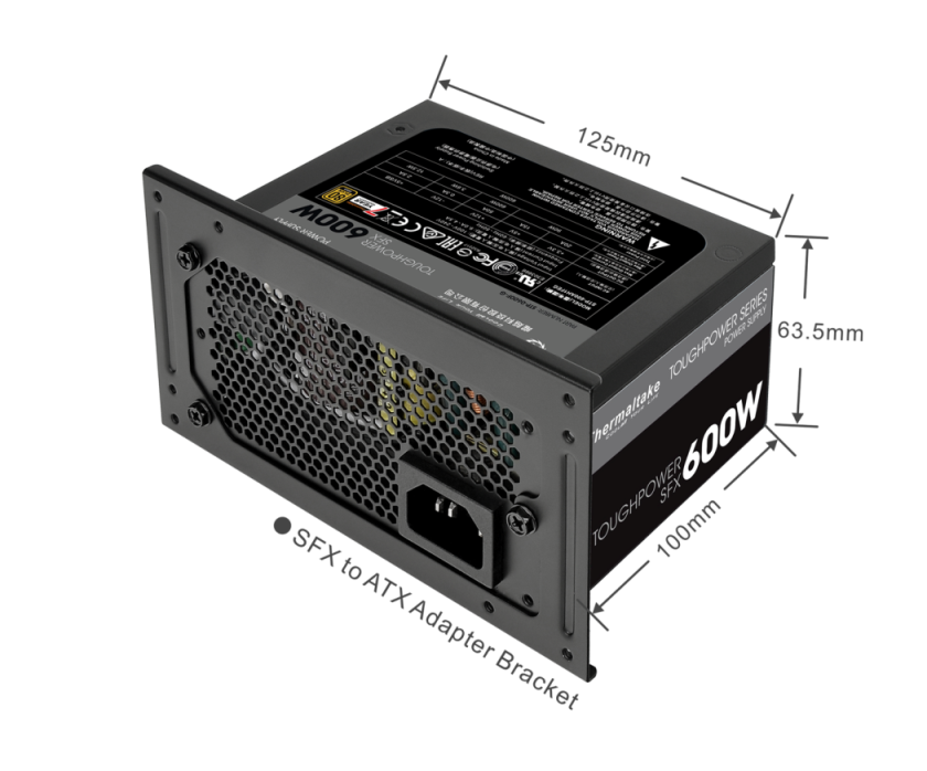 Thermaltake Toughpower SFX Gold 600W Power Supply Unit-Universal Compact Design for All Mainstream PC Cases – SFX to ATX PSU Adapter Bracket