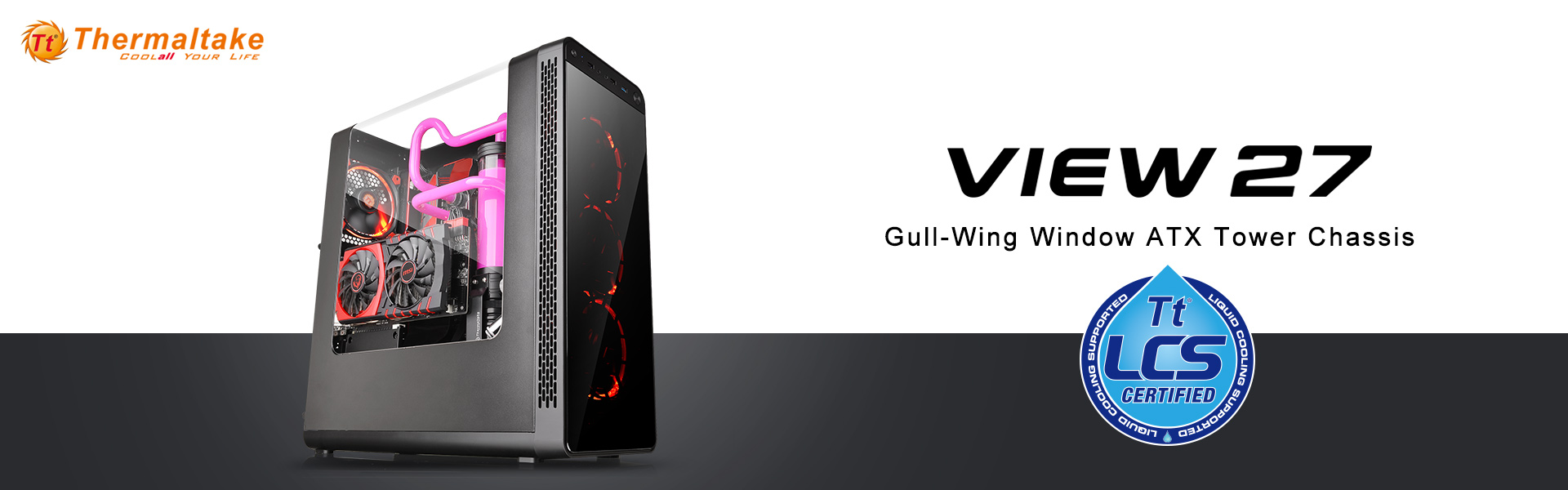 Thermaltake View27 Gull-Wing Window ATX Mid Tower Chassis _1