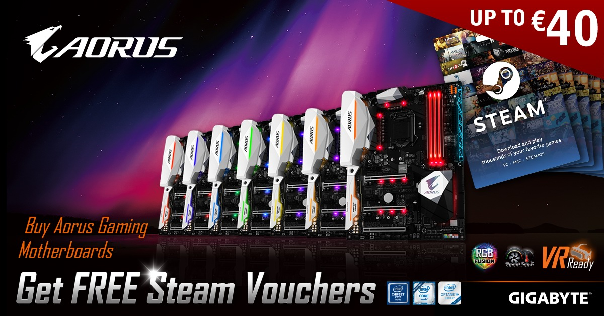 """GIGABYTE Announces """"Buy AORUS Gaming Motherboards  and get FREE Steam vouchers"""" Promotion"""
