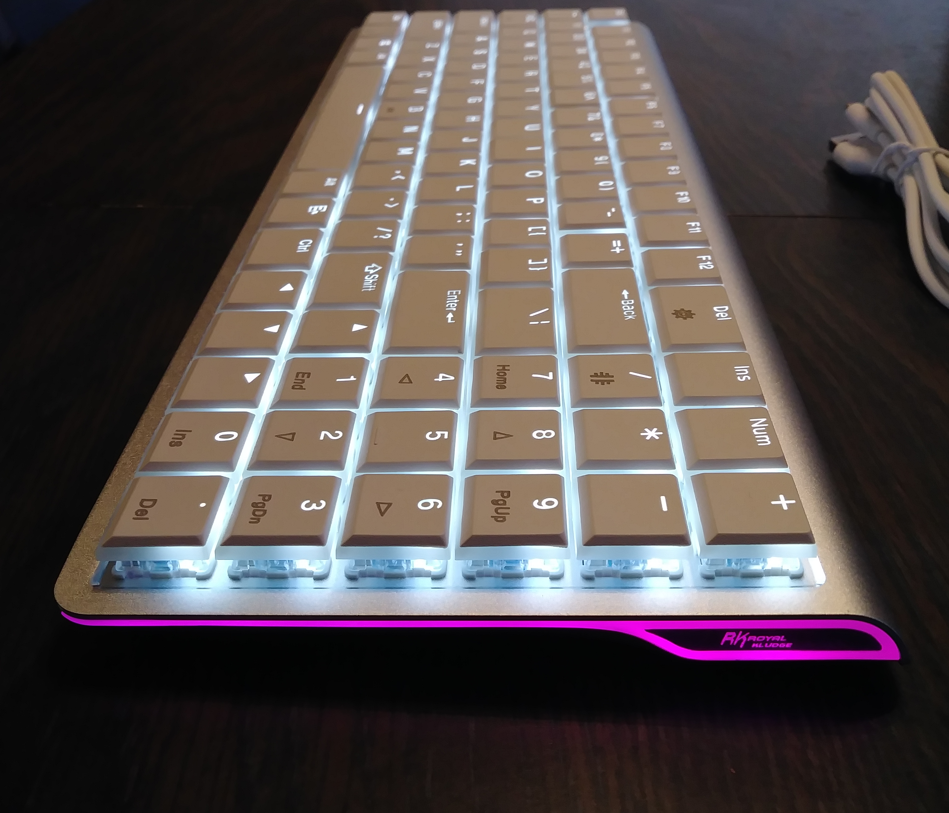 "DREVO ""Joyeuse"" 96Key Ultra-Thin Aluminium Alloy – White LED – Wireless Bluetooth 3.0 – Mechanical Keyboard"